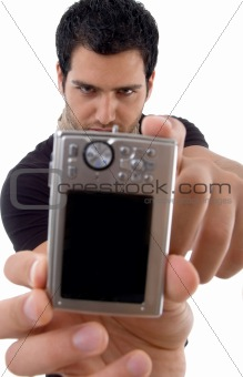 handsome male showing digital camera