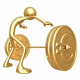 Weight Lifting Gold Euro Coins