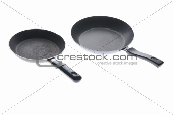 Black griddle closeup on white