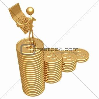 Accountant With Calculator on Graph Of Coins