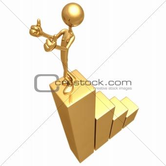 Thumbs Up Golden Bar Graph Business Growth