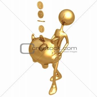Catching Coins In Golden Piggy Bank