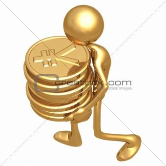 Carrying A Stack Of Gold Yen Coins