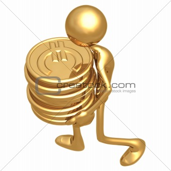 Carrying A Stack Of Gold Euro Coins