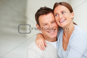 Closeup of happy romantic young couple