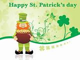 clover background with leprechaun 17 march