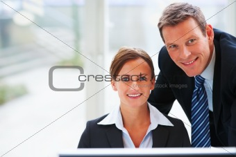Closeup of happy and cheerful business colleagues