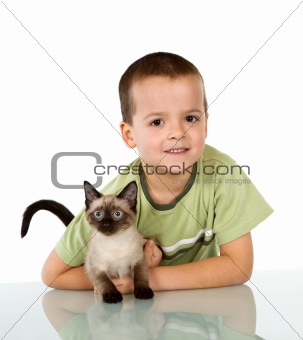 Boy with his kitten