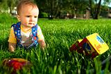 Baby on the lawn