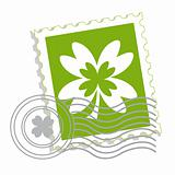 Postage stamp with clover leaf
