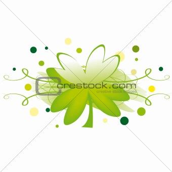 Grunge element with clover leaf