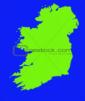 Green outline map of Ireland