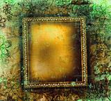 Gilded frame on green grunge background