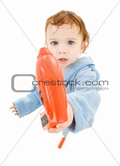 baby boy with toy drill