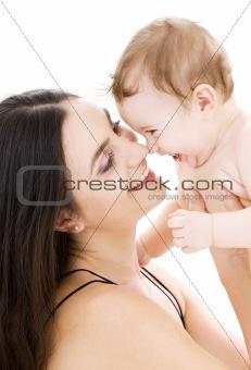 baby boy in mother hands