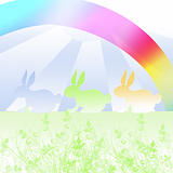 easter bunnies under a rainbow