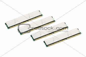 Four Modules of Computer Memory (isolated on white)