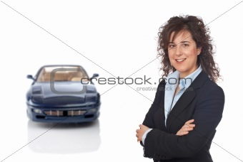 Smiling business woman and the modern car