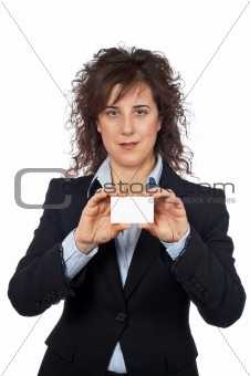 Business woman holding one blank card