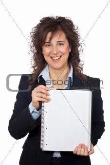 Business woman showing a blank sheet