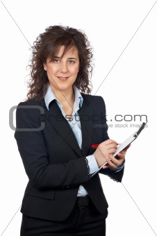 Smiling business woman writing