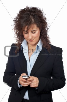 Business woman send a SMS