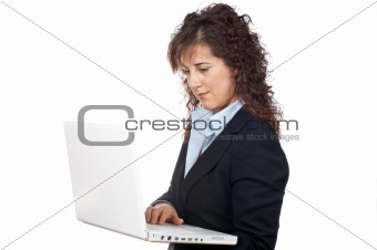 Business woman write in a laptop