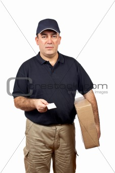Courier handing a blank card