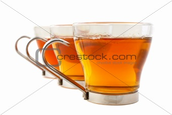 Three glass cups of tea