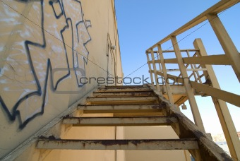 Abandoned urban old steel stairs