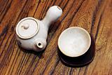 Pottery tea pot and cup