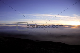 Sunset over a canopy of cloud