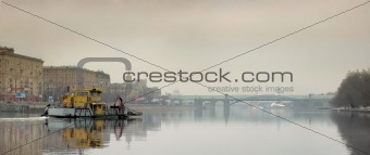 Floating boat at Moskva River