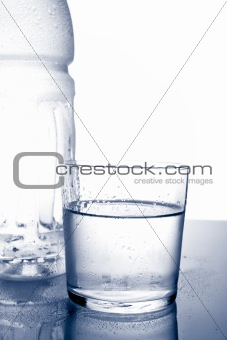 Detail of bottle and glass of mineral water