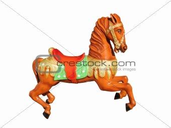 carousel orange horse