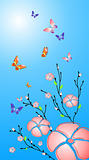 Vector flowers and butterfly background