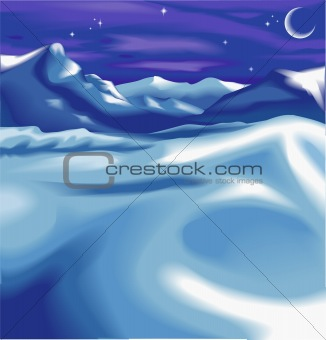 A snowy night time winter scene