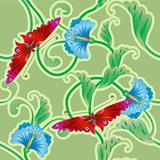 Butterfly and flower oriental tileable seamless background