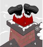 Santa claus stuck in a chimney.