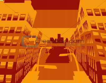 an abstract illustration of a city street