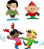 Elves and pixies having holiday fun