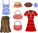 selection of clothes and fashion accessories
