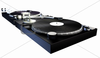 3D render of a DJs decks