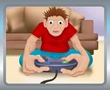 A boy playing on a games console
