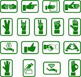 Various hand icons.