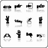 hand elements icon set.