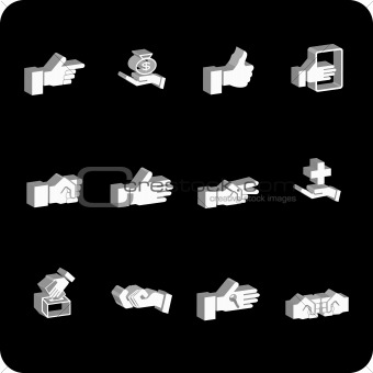 hand elements icon series set