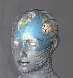 Globe within a transparent head