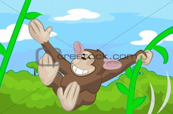 A cute monkey swinging through the trees