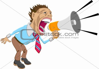A business man shouting into a megaphone